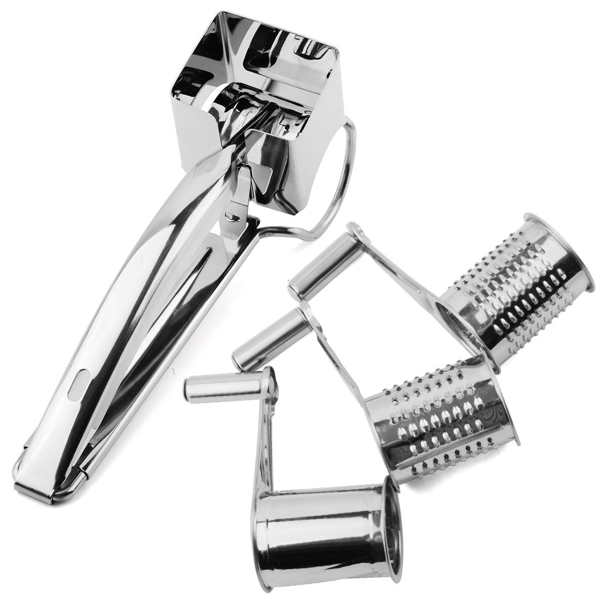 yijia 3 Drums/Set Rotary Cheese Grater Stainless Steel Cheese Slicer Kitchen Cheese Butter Cutter For Cake Chocolate Fondue