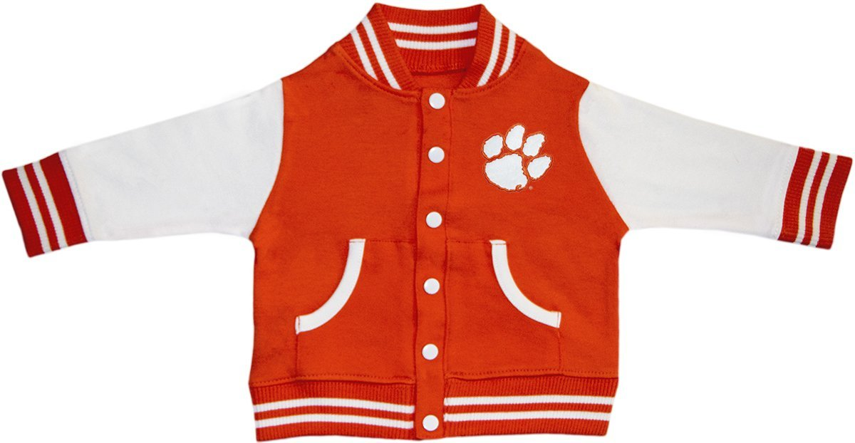 Clemson University Tiger Paw Varsity Jacket Orange by Creative Knitwear