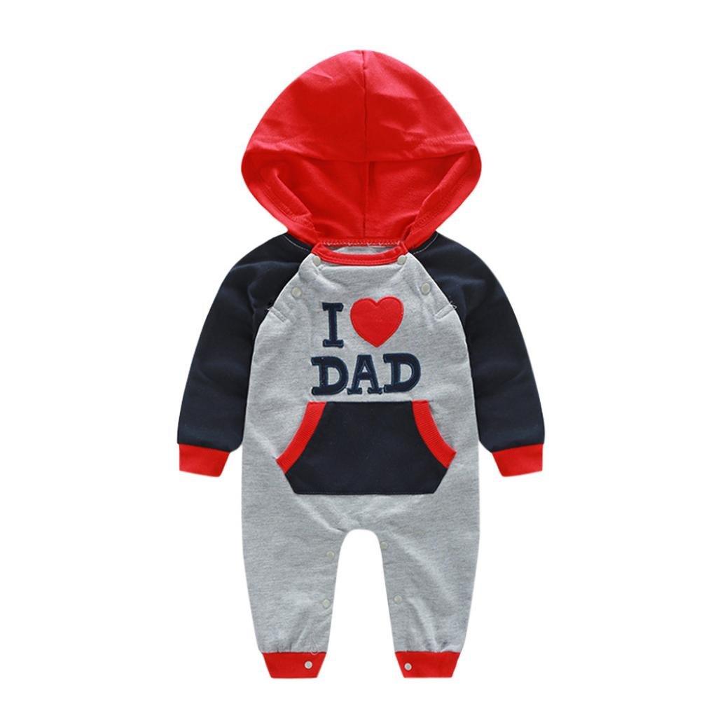 Hirolan Kleinkind Baby Bodys & Einteiler Säugling Babykleidung Jungen Overall Outfits Mädchen Strampler Stickerei Brief mit Kapuze Spielanzug Schlafanzug