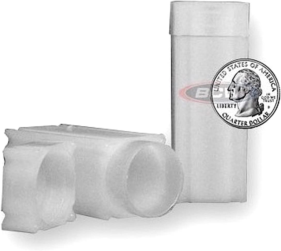 (10) Coinsafe Brand Square White Plastic (Quarter) Size Coin Storage Tube Holders