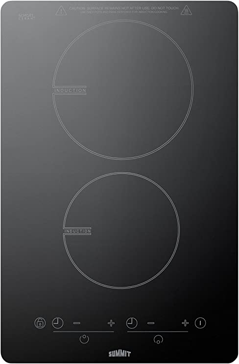 Summit SINC2B120 115V 13.5 Induction Cooktop With Schott Glass and 7-Piece Induction Cookware Set Included Black