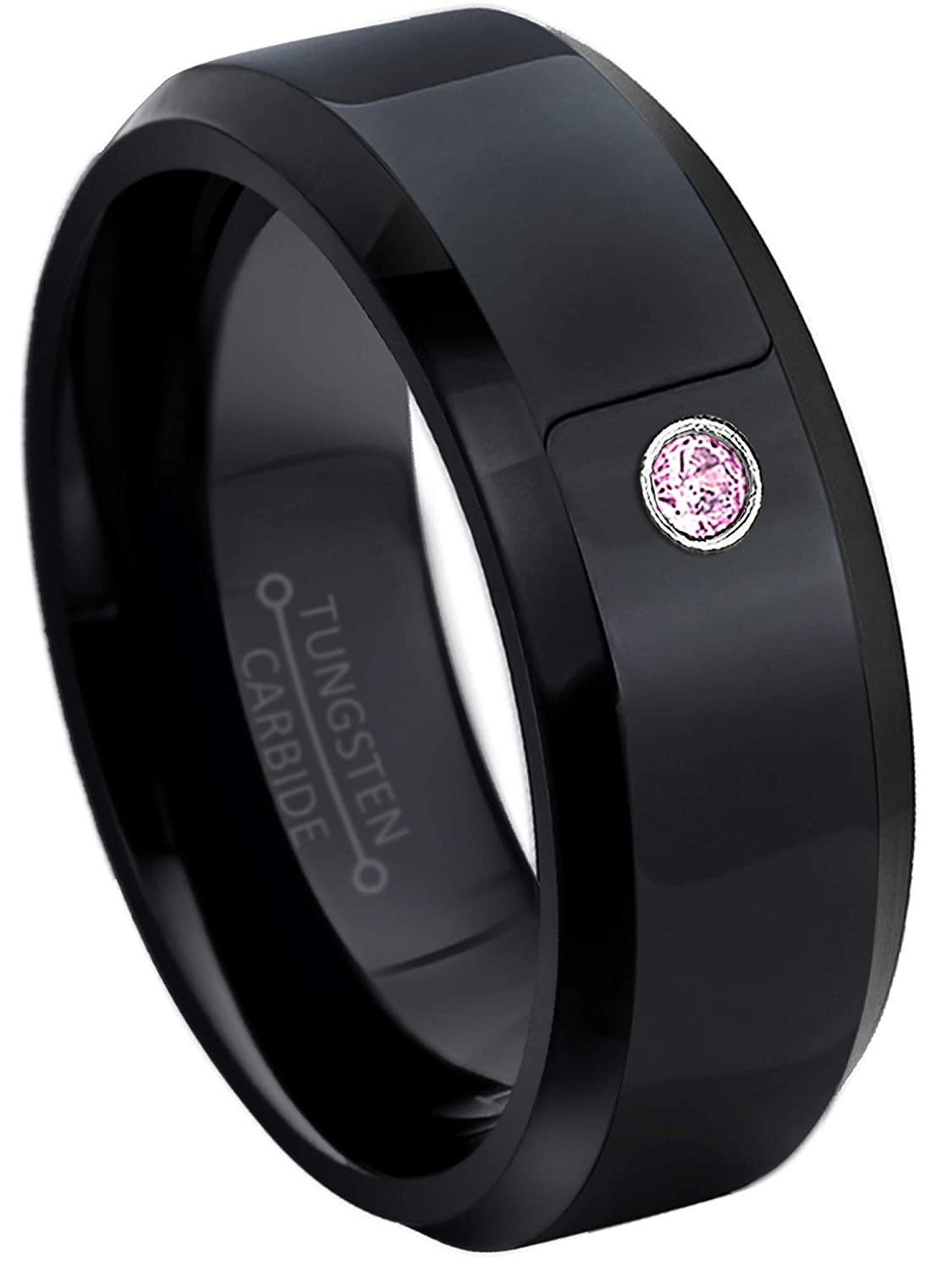 8MM Comfort Fit Polished Black Ion Stepped Edge Tungsten Carbide Wedding Band October Birthstone Ring Jewelry Avalanche 0.07ct Pink Tourmaline Tungsten Ring