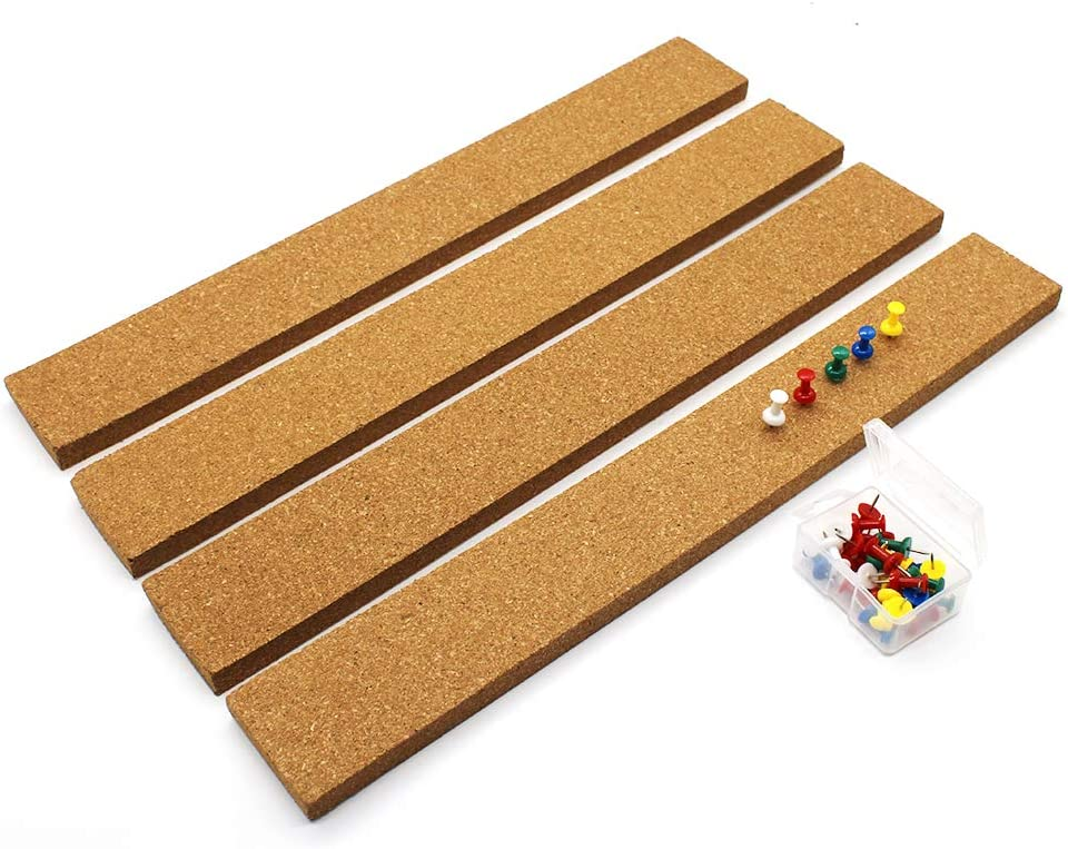 Cork Strip, Cork Board Bulletin Board Cork Bulletin Bar Strip Set 4 Pieces, 2 x 15 Inch, Frameless Cork Board Memo Strip for Office, School, Home Holiday Decor.