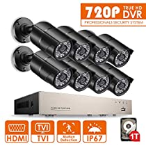 Anlapus 8Cams 720P Security Camera System, 8 CH 720P HD-TVI DVR with 1TB Hard Drive and 8 x 720P 1.0 MP 1280TVL Waterproof Outdoor Indoor CCTV Bullet Cameras with Motion Detection and Night Vision