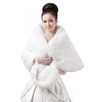 Las mujeres clásica de invierno Furry Capelets chales suave abrigo largo de novia boda envoltorios de capa de hombro vestido de dama Tippet blanco: ...