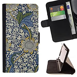 Jordan Colourful Shop - blue floral pattern white flowers For Apple Iphone 4 / 4S - Leather Case Absorci???¡¯???€????€????????&