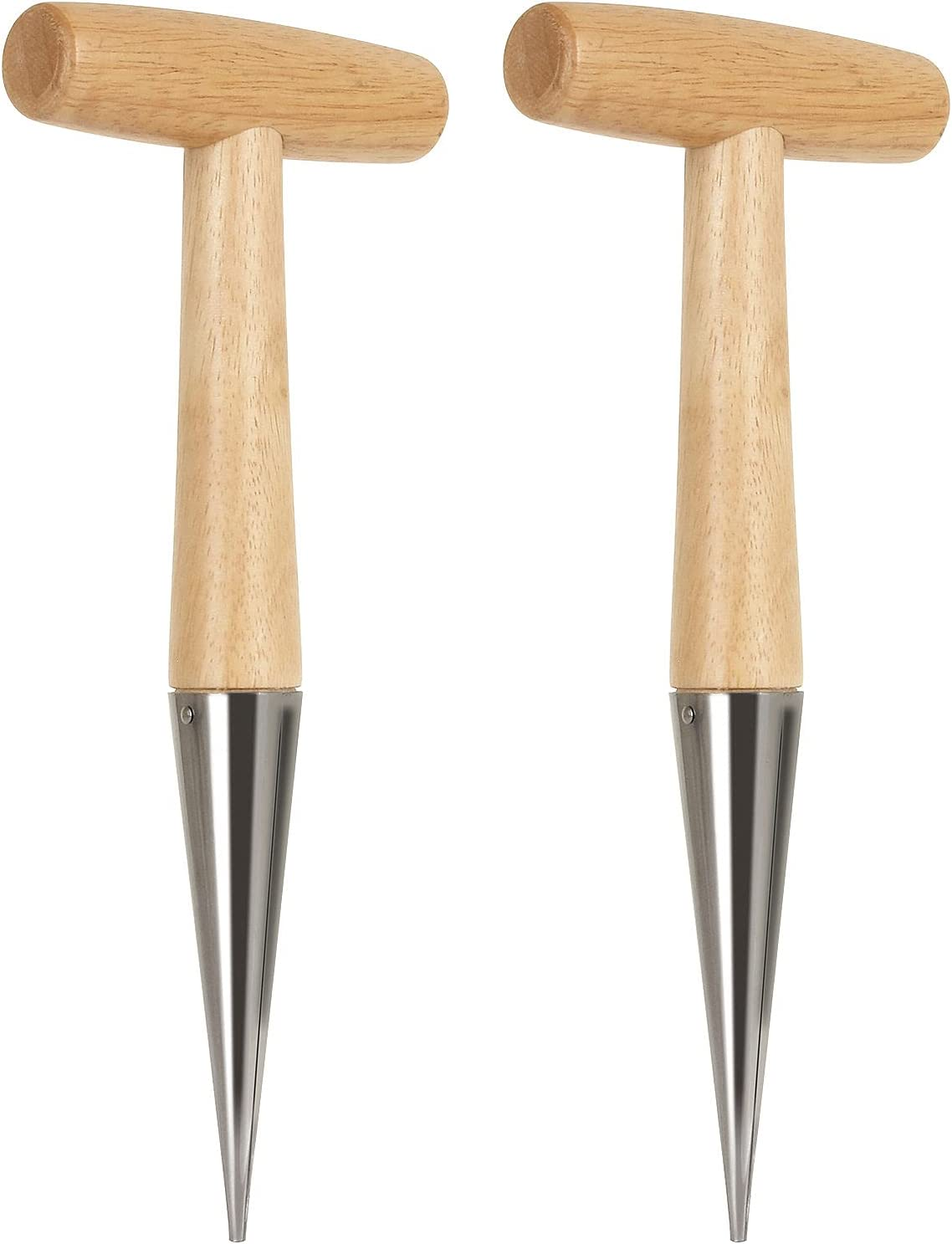 ZOEYES 2 PCS 11 Inch Stainless Steel Hand Dibber Garden Tools with Wooden Handle, Dibbler Bulb Planter, Wooden Sow Dibbers for Sowing Seeds, Transplanting Plants, Planting Bulbs, Digging, Gardening