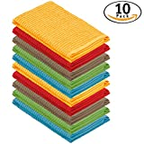 DecorRack 10 Pack 100% Cotton Bar Mop, 16 x 19 inch, Ultra Absorbent, Heavy Duty Kitchen Cleaning Towels, Assorted Colors (10 Pack)