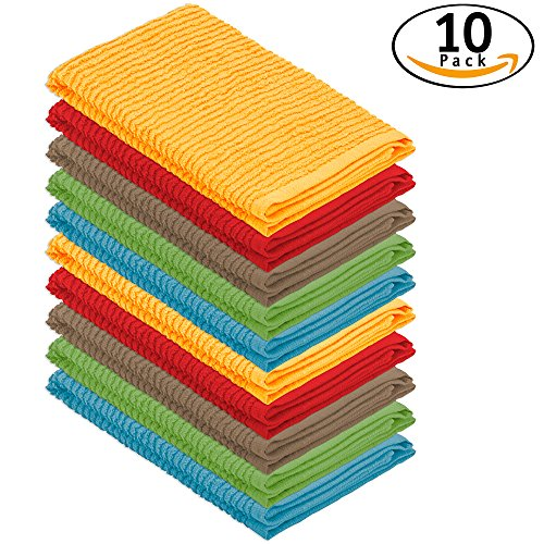 DecorRack 10 Pack 100% Cotton Bar Mop, 16 x 19 inch, Ultra Absorbent, Heavy Duty Kitchen Cleaning Towels, Assorted Colors (10 Pack) - Bar Mop Cloths
