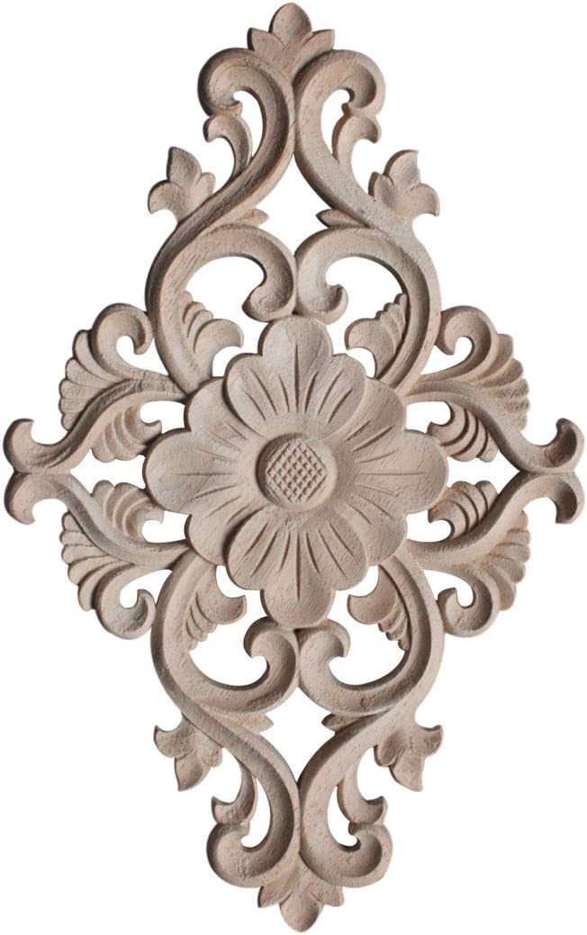 SAIEN Wood Carving Decal Long Onlay Applique Unpainted Home Furniture Decorations for Cabinet #2