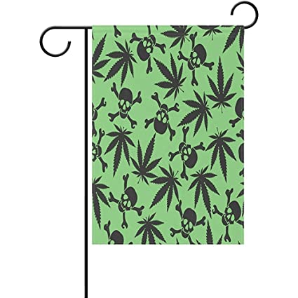 Amazon.com: Startor Cannabis Leaf Skull Garden Flag 28\