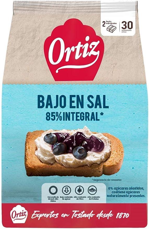 Ortiz Pan Tostado Bajo Contenido de Sal y Sin Azúcares Añadidos, 30 rebanadas, 324gr