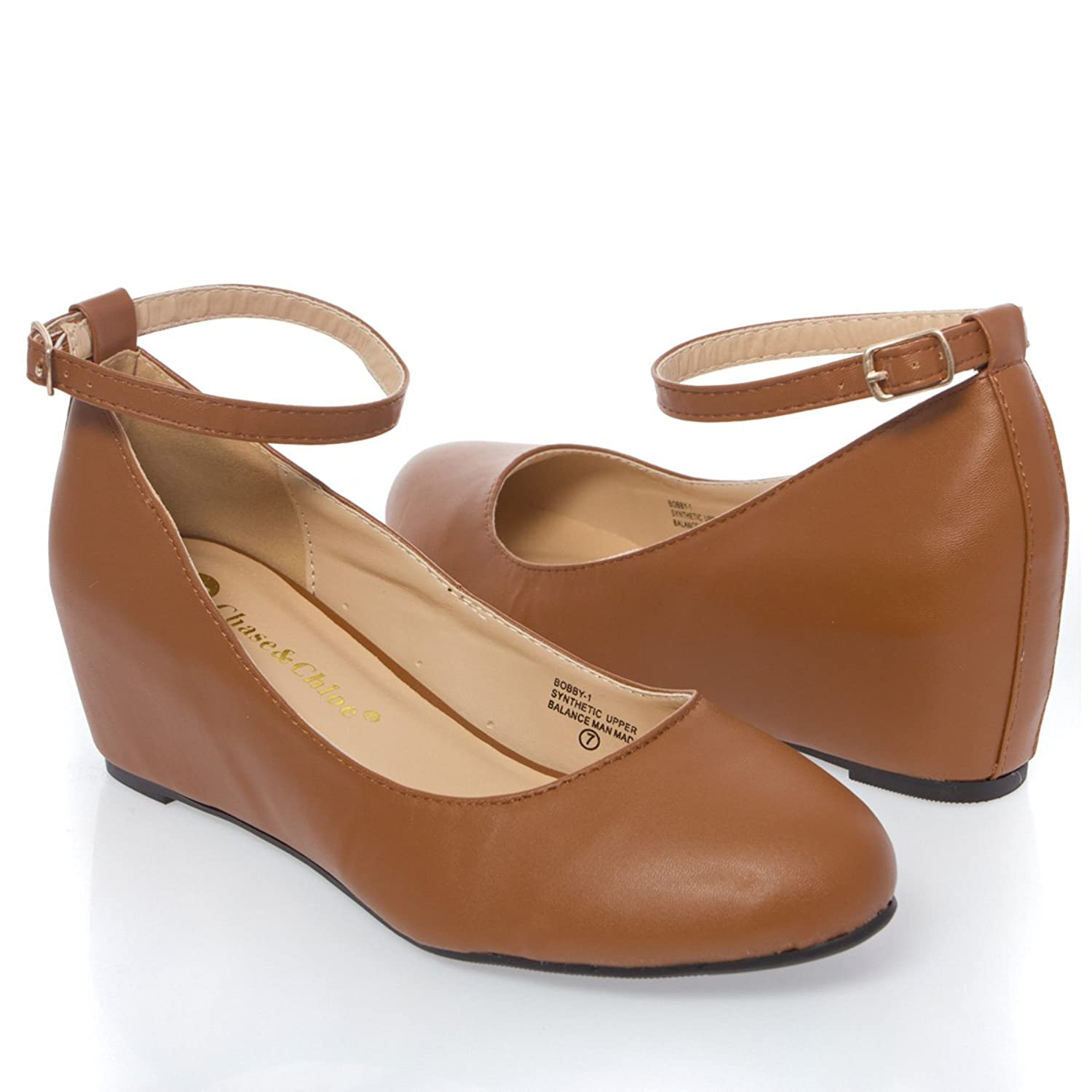 V-Luxury Womens 36-BOBBY1 Closed Toe Med Heel Wedge Shoes, Tan PU Leather