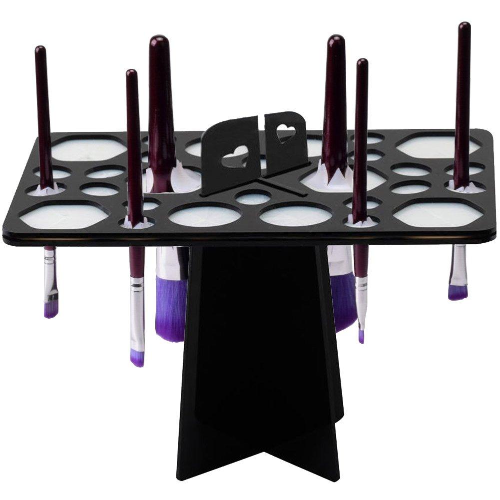 BEAKEY Makeup Brush Drying Rack Tree Air Tower Organizer Folding Brush Holder Cosmetic Shelf Tools [Updated Version] - 28 Holes