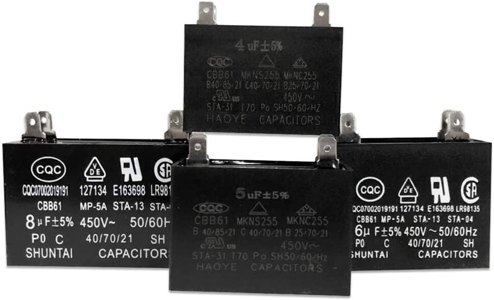 1.2uF with 2 Wires 50//60Hz Capacitors for Ceiling Fan KESOTO 450V AC Motor Run Capacitor Dynamotor CBB61