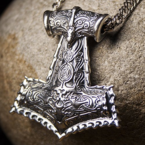Large Viking Axe Odins Mjolnir Replica Pendant Thors Hammer Necklace 925 Sterling Silver Mens Gothic Pagan Norse Mythology Jewelry Gift for Men Perfect Father's Day Gift