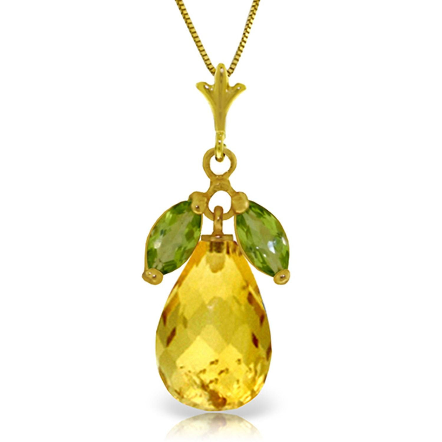 ALARRI 7.2 Carat 14K Solid Gold Necklace Natural Peridot Citrine with 20 Inch Chain Length