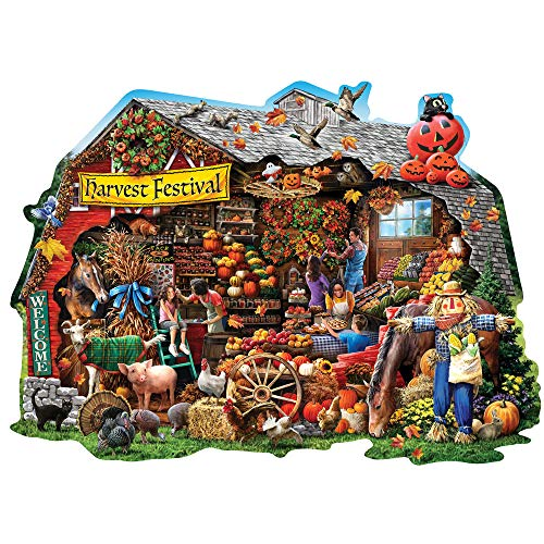 Bits and Pieces - Fall Harvest Barn Shaped 750 Piece Jigsaw Puzzles for Adults - Each Puzzle Measures 20