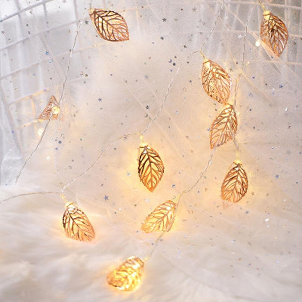 2M 10 Tress Leaves LED String Light, Dirance Indoor Outdoor Fairy Iron Night Light Lamp Festival Party Wedding Girl Bedroom Home Decor (Gold)