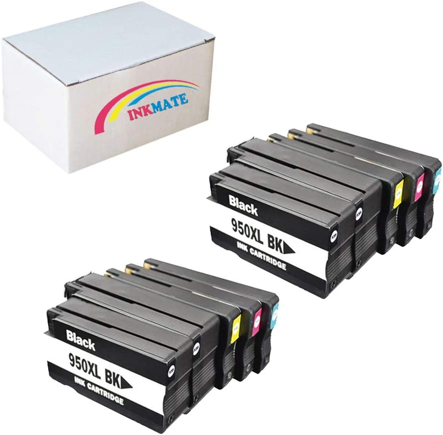 INKMATE Re-Manufactured Ink Cartridge Replacement for HP 950XL 951XL for OfficeJet Pro 8100 8600 8600 4Black//2Yellow//2Cyan //2Magenta, 10Pack