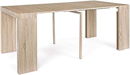ARREDinITALY - Mesa Consola Extensible 45 x 90 cm. Extensible a 180 x 90 - Roble Natural: Amazon.es: Hogar