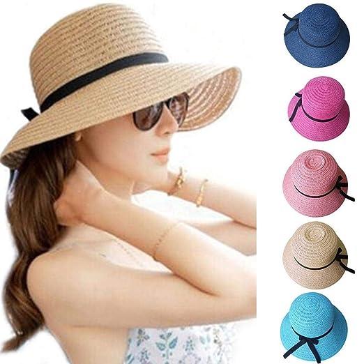 f9ef23377c586 💕Ourhomer💕 Floppy Foldable Ladies For Women Straw Beach Sun Summer Hat  Beige Wide Brim (Navy) at Amazon Women s Clothing store