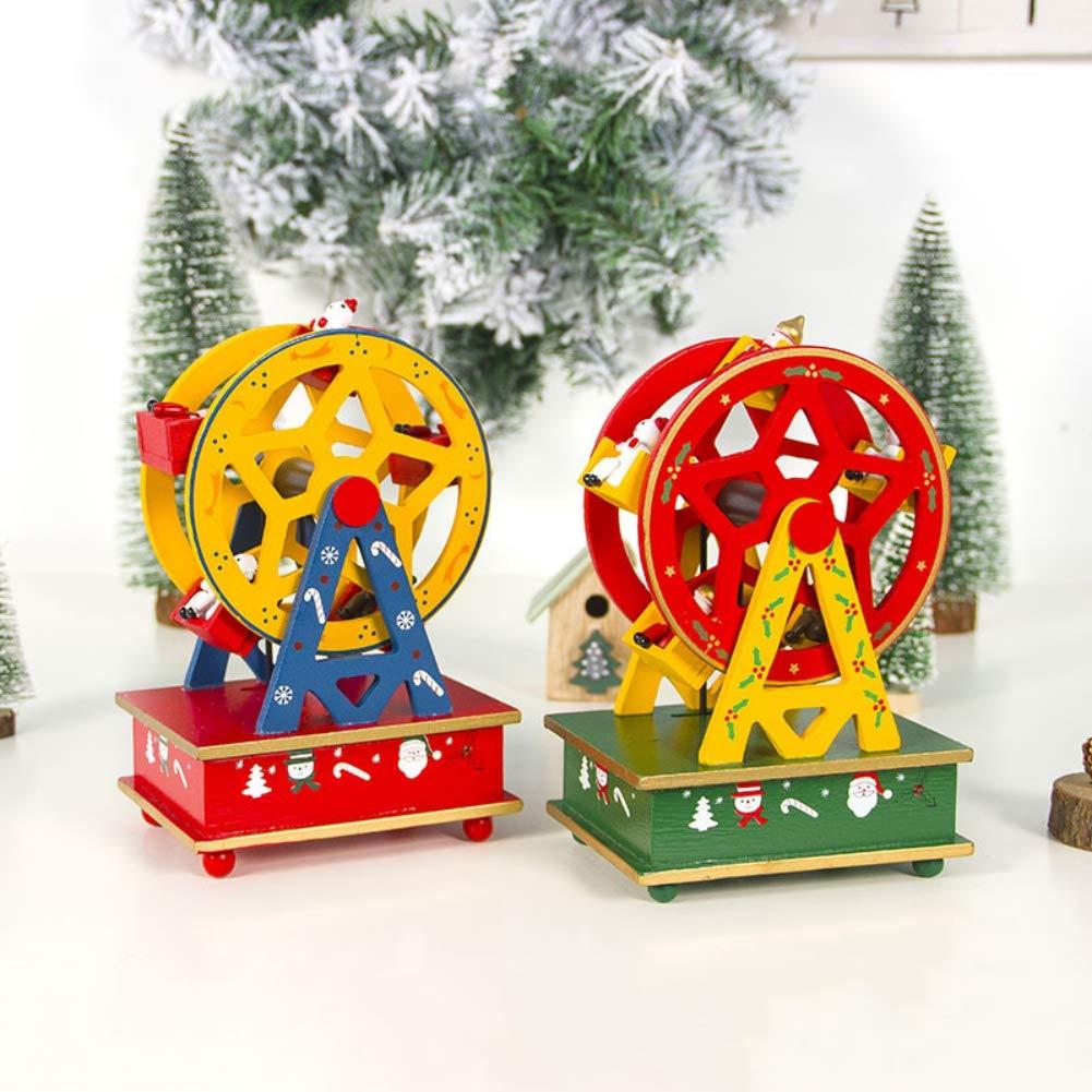 Christmas Decorations Adornos navide/ños para ni/ños Caja de m/úsica de madera Smart Castle Toy Decoration Christmas Present Forart Christmas Music Box