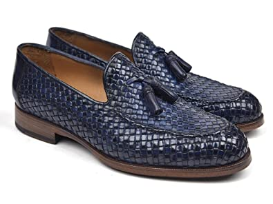Woven Leather Tassel Loafers Navy Shoes (ID#WVN44-NAVY)