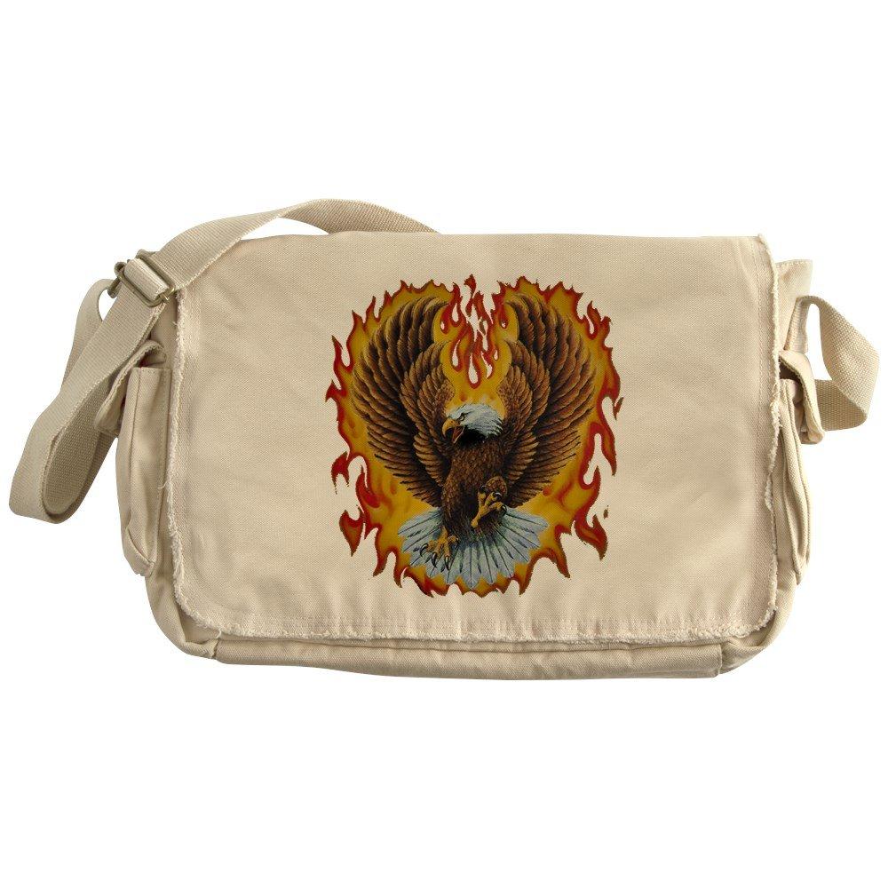 Royal Lion Khaki Messenger Bag Eagle with Flames