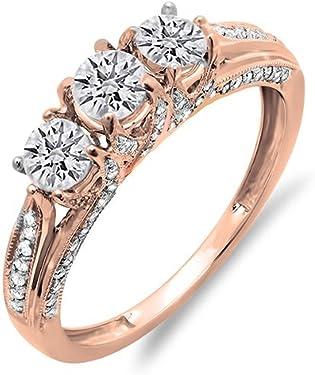 anillo oro rosa con 3 diamantes blancos centrales