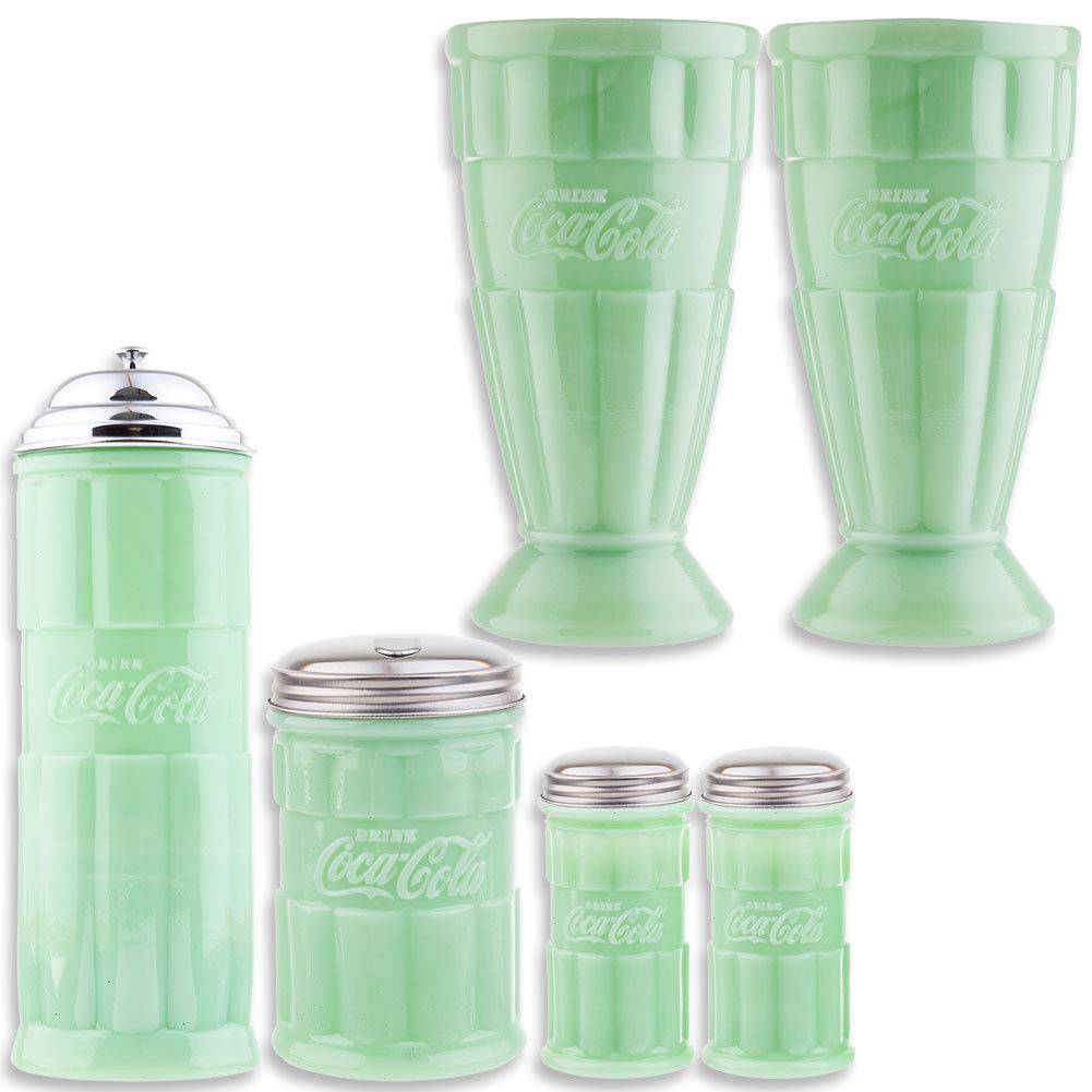 (Set) Coca-Cola Jadeite Malt Glasses Straw Holder Sugar Pourer & Shakers by SINCE 1914 JOHNSON SMITH CO