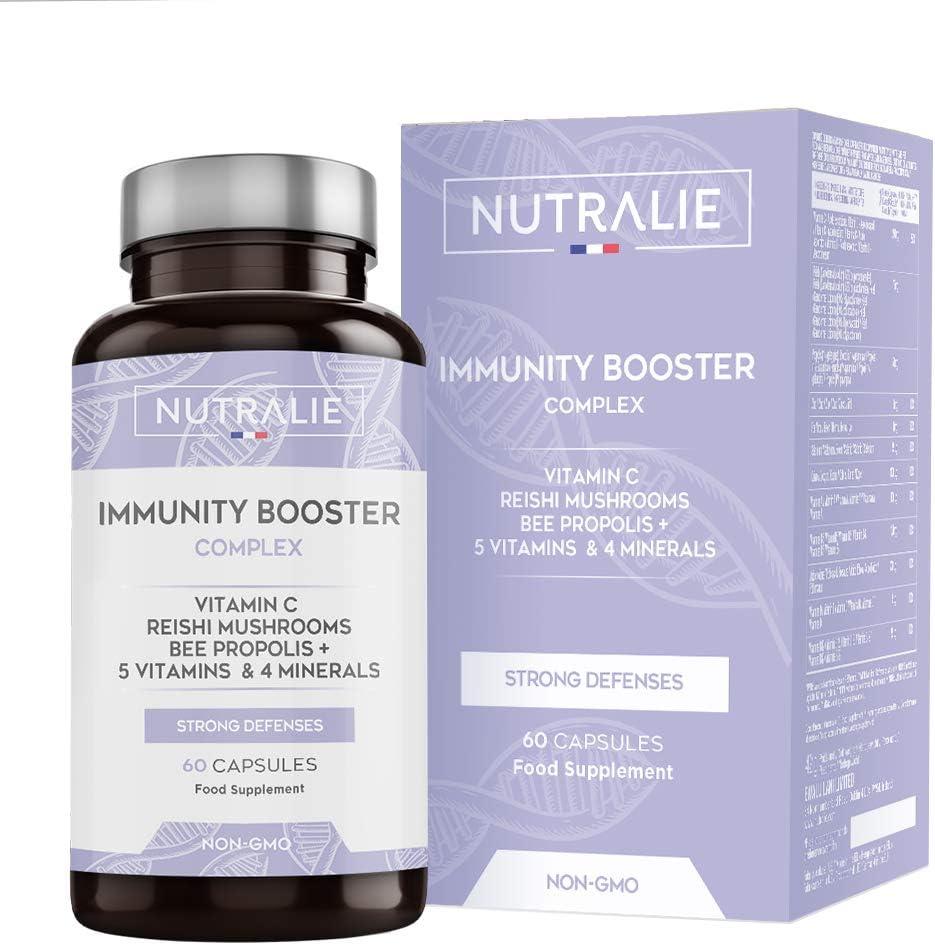 Immunity Booster Multivitaminas y Minerales Concentrado | Potenciador Sistema Inmunitario y Defensas con Vitamina C, Zinc, Hierro + Vitaminas y Minerales | 60 Cápsulas Nutralie