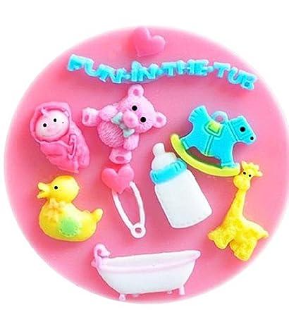 Molde de silicona para uso alimentario de accesorios para bebés - pato - biberón - jirafa