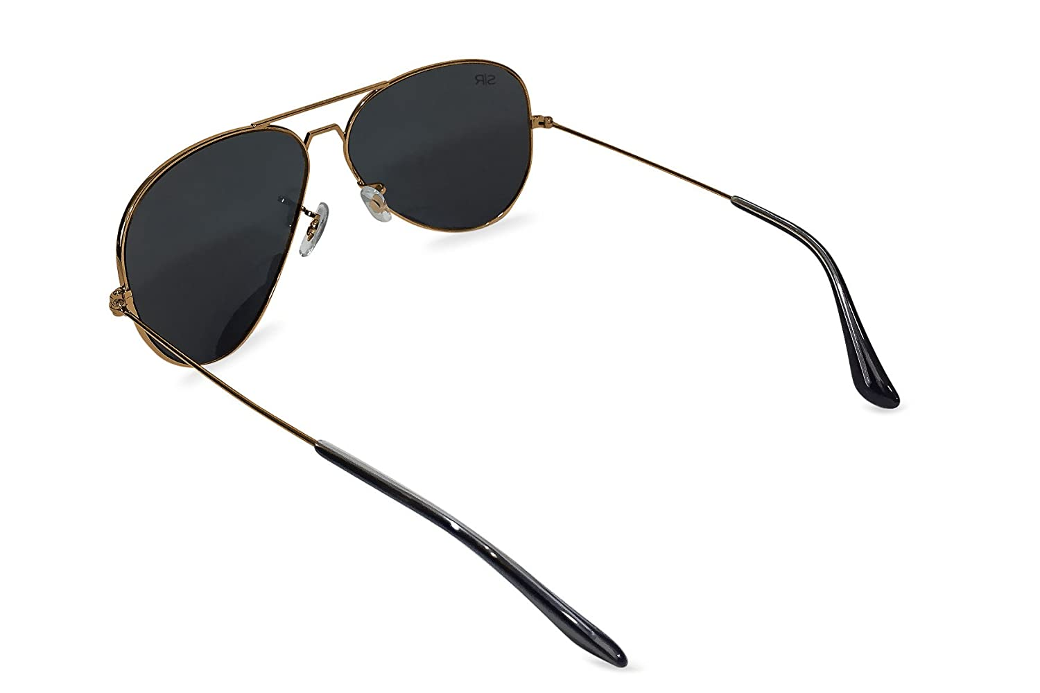 Amazon.com: Shady Rays Aviator Elite Polarized Metal Sunglasses Black Gold- Small: Clothing