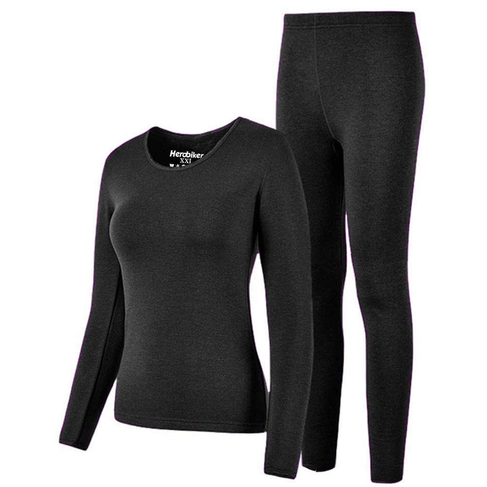 HEROBIKER Thermal Underwear Women Set Winer Skiing Warm Top Thermal Long Johns M, Black by HEROBIKER