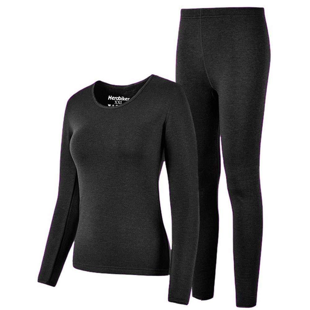 HEROBIKER Thermal Underwear Women Set Winer Skiing Warm Top Thermal Long Johns M