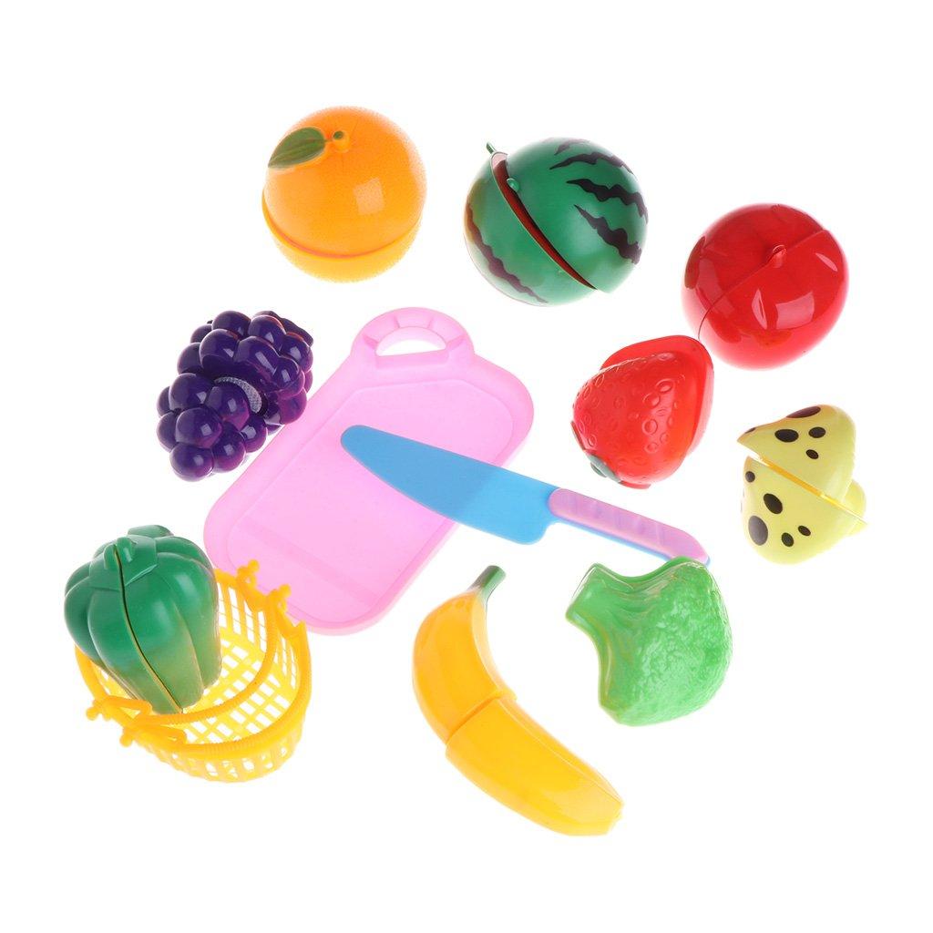 Tandou 12 Stücke Kunststoff Küche Obst Gemüse Schneiden Rollenspiel Kinder Spielzeug Set