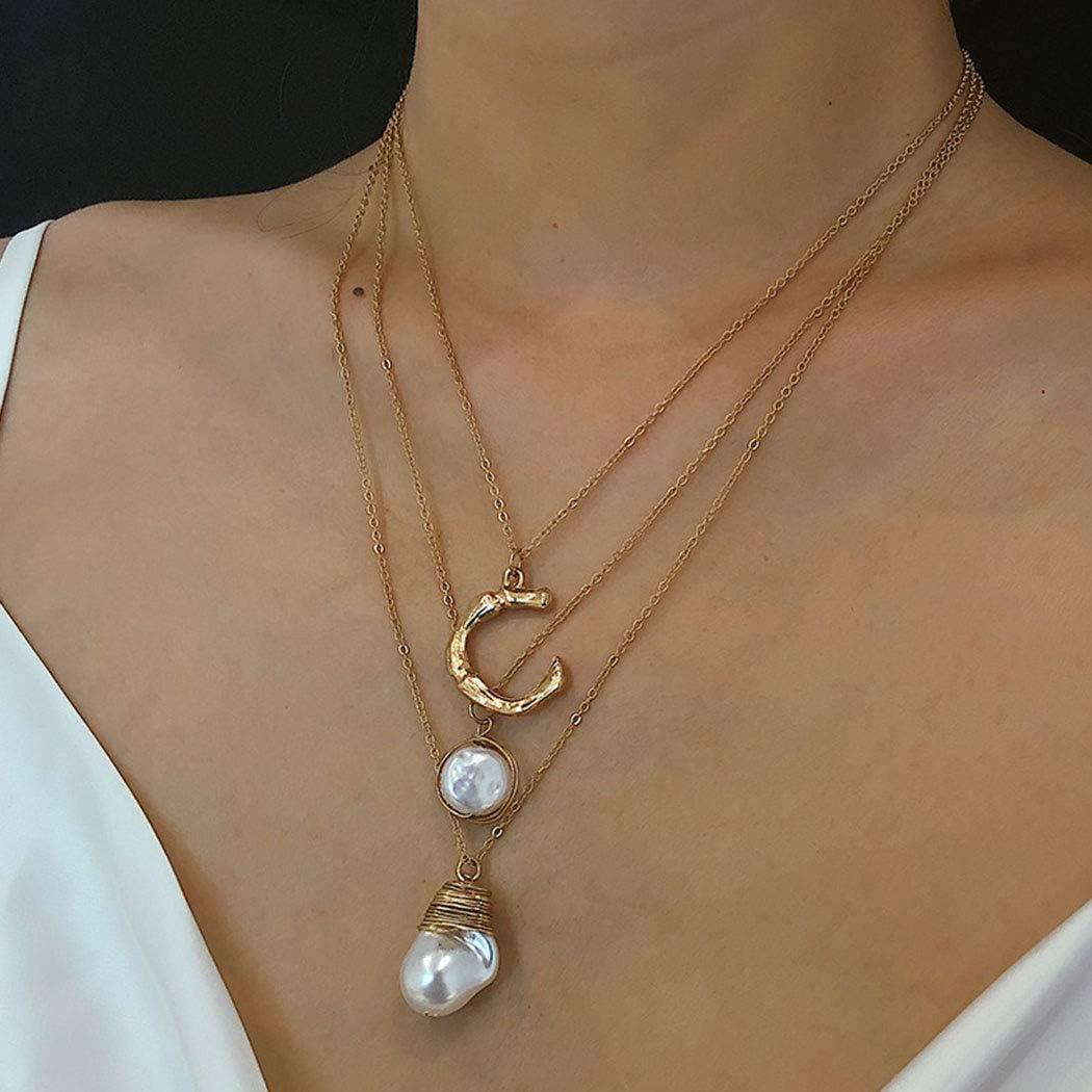 Fashband Boho - Collar con colgante de perlas irregulares de oro con cadena de cuello para mujeres y niñas