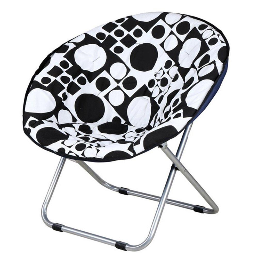 Folding chair Sedia pieghevole pieghevole/lavabile sedia pieghevole/luna sedia/divano pigro/casual sedia a sdraio/chaise longue/sedia pieghevole/Moon sedia/cerchio bianco e nero 50 * 50 cm XIN XIN EU