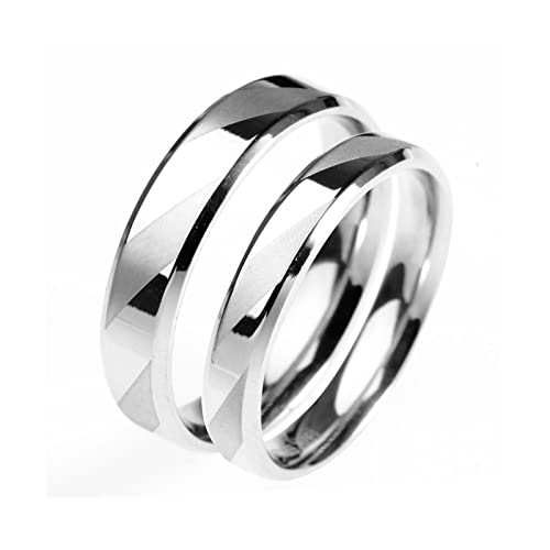 14d9707bb2 Amazon.com: Daesar 1PCS Stainless Steel Rings Wedding for Men/Women Ring  Round Silver Ring Size 4-10: Jewelry