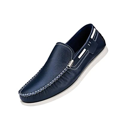 Men's Leather and Rubber Driving Shoes Fashion Casual Ruched Slip On Loafers