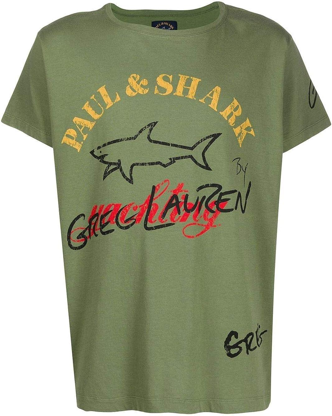 PAUL & SHARK Luxury Fashion Man E20P1466MILITARY Green Cotton T-Shirt   Spring Summer 20