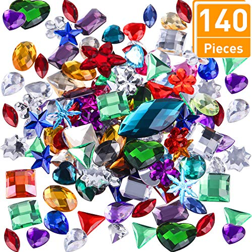 Gem Embellishment (Tatuo 140 Pieces Gems Acrylic Flatback Rhinestones Gemstone Embellishments for Table Scatters, Vase Fillers, Event, Wedding, Birthday Decoration Favor, Large Size with Bag)