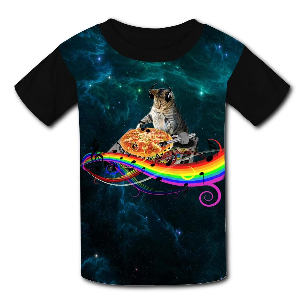 Fantasy Rainbow Musical Note Cat Casual T-Shirt Short Sleeve for Kids