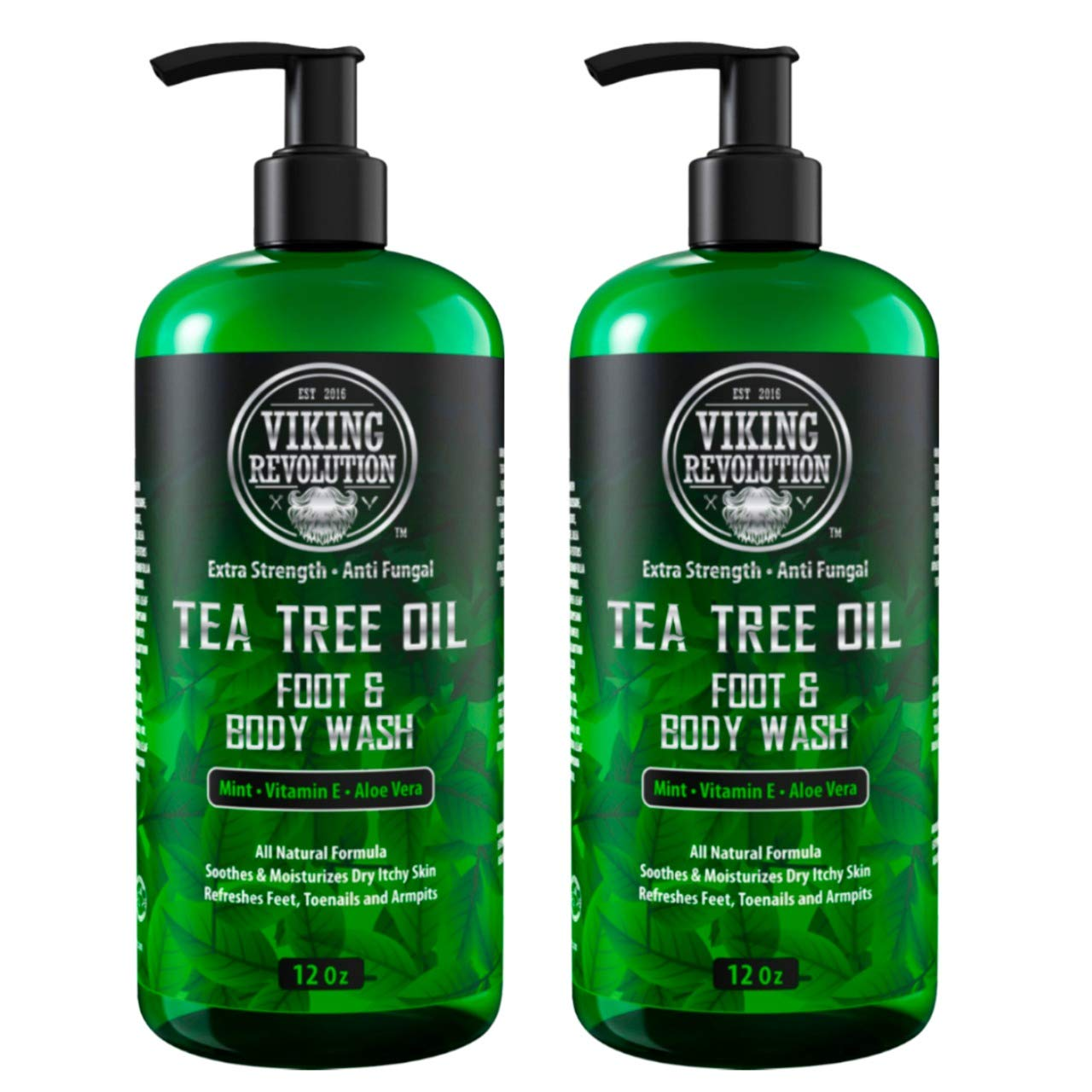 Antifungal Tea Tree Oil Body Wash Soap for Men - Helps Athlete's Foot, Toenail Fungus, Jock Itch, Eczema, Ringworm & Body Odors - Extra Strength Men's Body Wash (2 Pack)