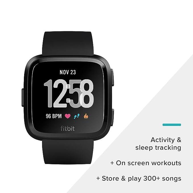 Reloj inteligente Fitbit Versa, talla única (correas S y L incluidas ...