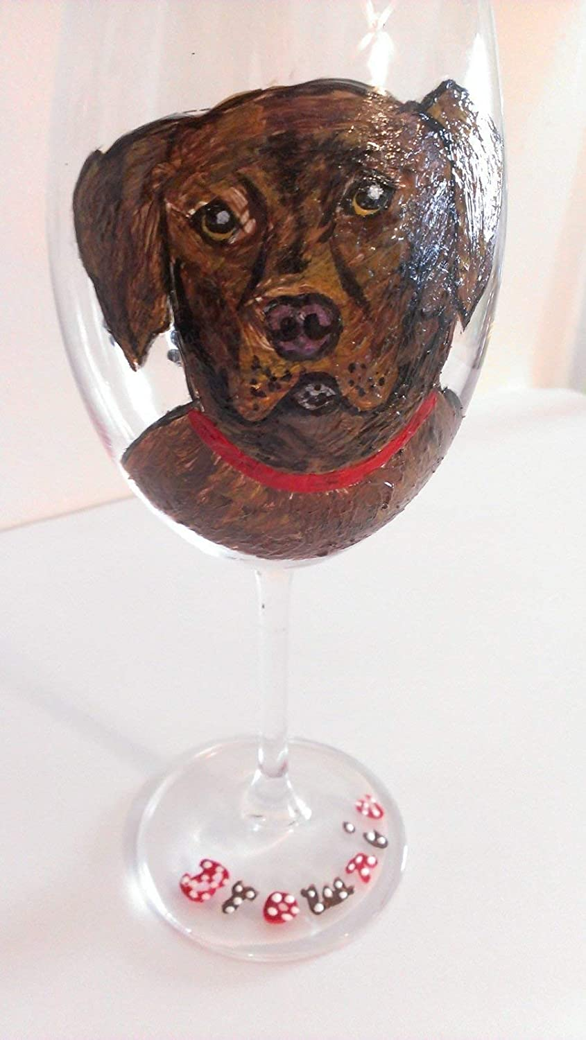 Amazon.com: Dog Wine Glasses Hand painted For The Pet Lover: Handmade