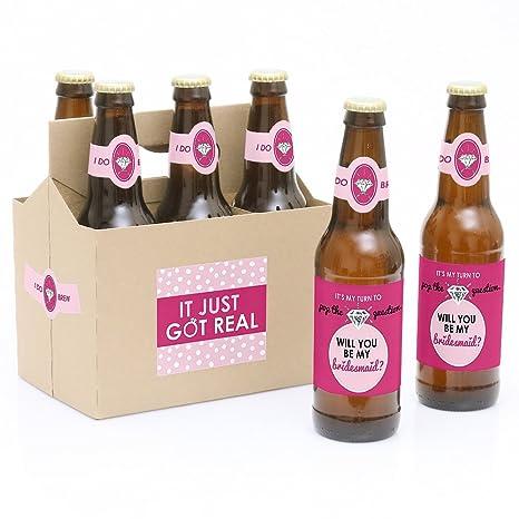 Pop Die Frage 6 Will You Be My Bridesmaid Bier Flasche Label Aufkleber Und 1 Carrier