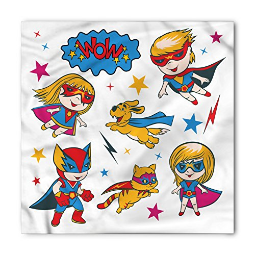 Puppy Nursery Theme (Superhero Bandana by Lunarable, Super Kids and Cat Puppy with Power Legendary Comic Strips Nursery Playroom Image, Printed Unisex Bandana Head and Neck Tie Scarf Headband, 22 X 22 Inches, Multicolor)