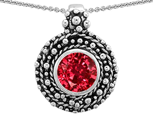 Star K Sterling Silver Bali Style Round 7mm Pendant Necklace